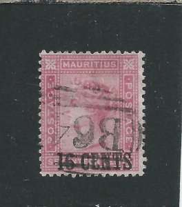 SEYCHELLES-MAURITIUS USED IN 1883 16c on 17c ROSE FU SG Z62 CAT £120