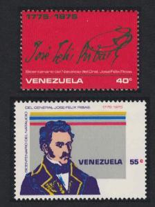 Venezuela Birth General Jose Ribas 2v 1976 MNH SC#1117-1118 SG#2309-2310