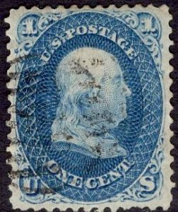 US Stamp #63B Dark Blue Variety 1c Franklin USED SCV $875. See Pics and Desc.