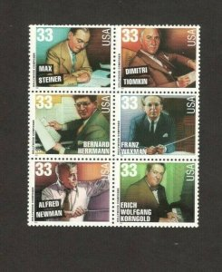 3339-44 Hollywood Composers Block Of 6 Mint/nh FREE SHIPPING