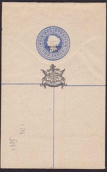 INDIA FARIDKOT QV 2a Registered envelope overprinted in black...............6126