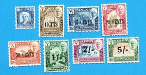 ADEN SHIHR MUKALLA -  Scott 20-27   VFMNH - surcharge set of 1951