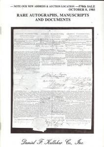 Rare Autographs, Manuscripts and Documents, Kelleher 570