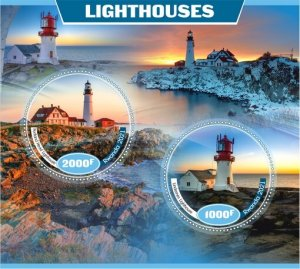 Stamps. Lighthouses Set 2 sheet perforated