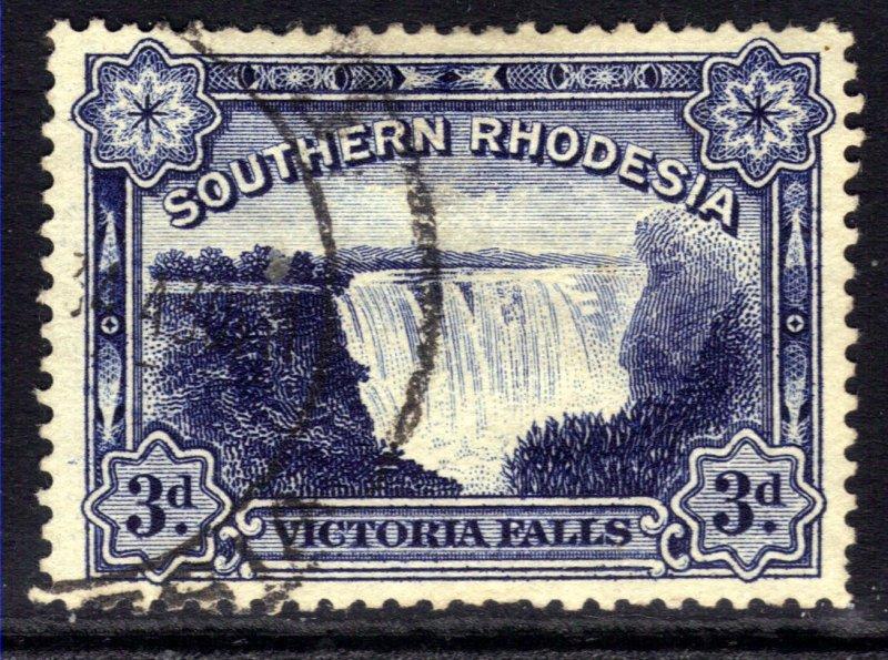 Southern Rhodesia 1932 KGV 3d Deep Ultramarine Victoria Falls used SG 30 ( B5...