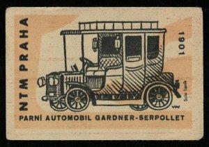Car Gardner-Serpollet 1901, NTM PRAHA, Matchbox Label Stamp (Т-8285)