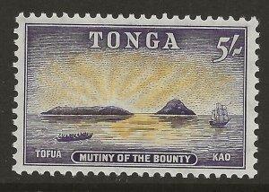 Tonga 1953 Mutiny of the Bounty 5/ Purple & Yellow #111 VF-H CV $15.00