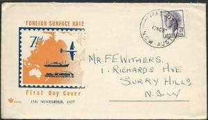 AUSTRALIA 1957 QE 7½d commem FDC........................................41013