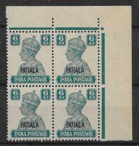 INDIA-PATIALA SG113 1944 6a TURQUOISE-GREEN MNH BLOCK OF 4