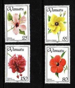 Vanuatu-Sc#582-5-unused NH set-Flowers-Hibiscus-1993-