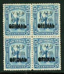 Nicaragua 1914 Liberty Overprint 1¢/25¢ Mint Block NO PERIOD H338