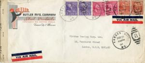 U.S. Scott 842, 841, 815 Prexies on Censored Airmail Ad Cover to England