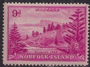 Norfolk Island 1947 KGV1 9d Magenta MM SG 10 ( J1084 )