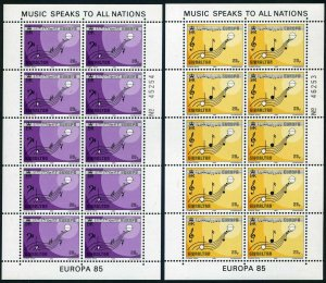 Gibraltar 471-472 sheets,MNH.Michel 487-488 klb. EUROPE CEPT-1985,Music Year.