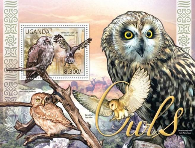 Uganda MNH S/S Owls Birds 2012