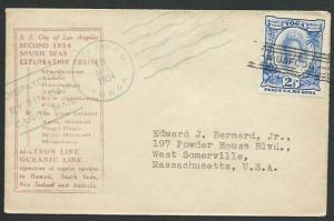 TONGA 1934 SS City of Los Angeles Exploration Cruise Tin Can Mail cover....83590