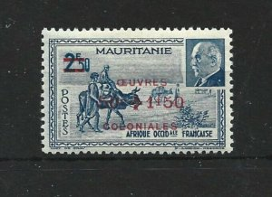 MAURITIUS  1942  2F 50   SURCHARGES  OEUVRES  COLONIALS  MH
