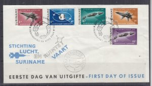 SURINAME, 1964 Aeronautical & Astronautical Foundation set of 5, First day cover