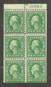 #498e Washington booklet pane mint hinged #10080