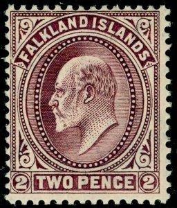 FALKLAND ISLANDS SG45, 2d purple, LH MINT. Cat £25.