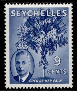SEYCHELLES GVI SG160, 9c chalky blue, LH MINT.