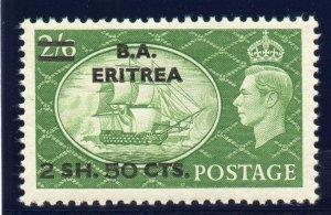 BOFIC - BMA Eritrea 1951 KGVI 2s 50c on 2s 6d yellow-green superb MNH. SG E30.