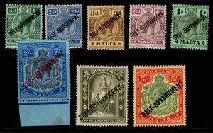 MALTA SG106/13 1922 SELF GOVERNMENT WMK CROWN CA SET MTD MINT
