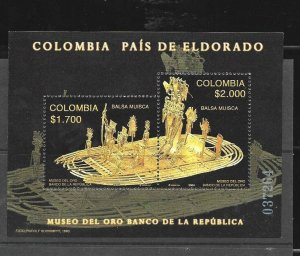 #1947 COLOMBIA 2004 ARCHEOLOGY GOLD MUSEUM  EL DORADO S/SHEET YV BL 55 MNH