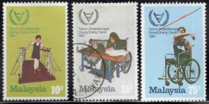 Malaysia Scott 215-217 Mix Mint and Used disabled set