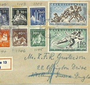 Czechoslovakia WINTER OLYMPICS Cover 1960 HOCKEY SKATING CASTLES {samwells}BU107