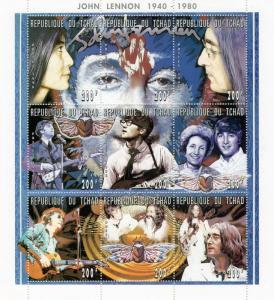 Chad 1996 JOHN LENNON YOKO ONO Big Sheet Perforated Mint (NH)