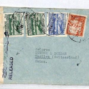 CQ29 WW2 INTERRUPTED MAIL Bolivia 1942 Cover Switzerland RELEASED Bermuda 1946