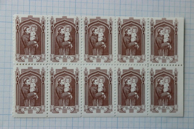 St Anthony Guide SAG charity seal poster booklet pane 10 MInt  DL