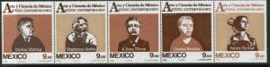 MEXICO 1335a Art & Science, Horizontal strip of five MNH