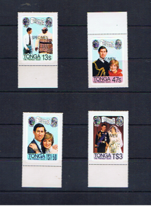 TONGA 1981 ROYAL WEDDING -'SPECIMEN'OVERPRINTS