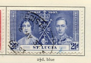 St Lucia 1937 GVI Early Issue Fine Used 2.5d. NW-154969