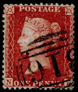 SG40, 1d rose-red, LC14, FINE USED. Cat £12.