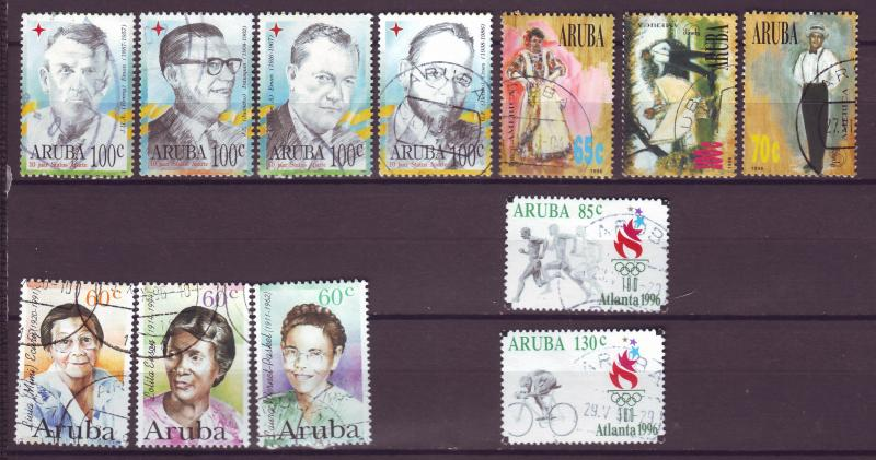 J15037 JLstamps 4 1996 aruba year sets used #130-41 designs
