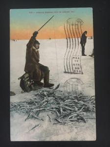 1910 Portland OR USA PPC Postcard Cover Tomcod Indians ice Fishing Flag Cancel