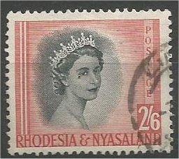 RHODESIA & NYASALAND, 1954, used 2sh6p, Queen Elizabeth II, Scott 152