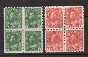Canada #107 & #109 XF/NH Gem Block Duo