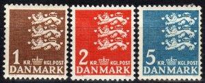 Denmark #297-9 MNH CV $9.40  (X2355)