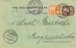 Egypt 1m and 3m Sphinx and Pyramid 1909 Alexandria Postcard to Ruegsau, Switz...
