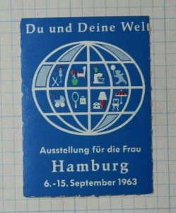 You & Yours Worlds Exhibition For Women Hamburg DE 1963 Expo Poster Stamp Ads