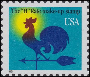 US 3257 Weathervane Rooster H rate make-up 1c single (1 stamp) MNH 1998