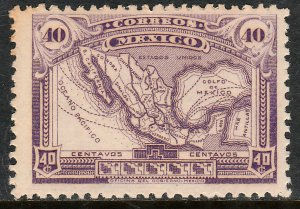 MEXICO 626, 40¢ MAP OF MEXICO. UNUSED, H OG. F-VF.