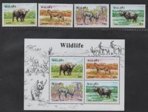 $Malawi Sc#582-585a, M/NH/VF complete set, Animals, Cv. $44