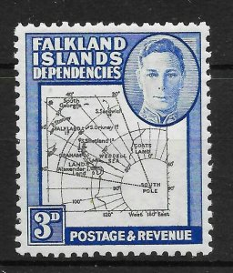 FALKLAND IS.DEP. SGG4aa 1946 3d BLACK & BLUE EXTRA ISLAND VAR MTD MINT
