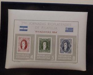 O) 1966 ARGENTINA, 2nd RIO DE LA PLATA STAMP SHOW, BUENOS AIRES, RIVADAVIAS I...