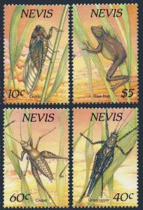 Nevis 582-585,585a sheet,MNH.Michel 514-517,Bl.19 Nocturnal Insects 1989.Frog.